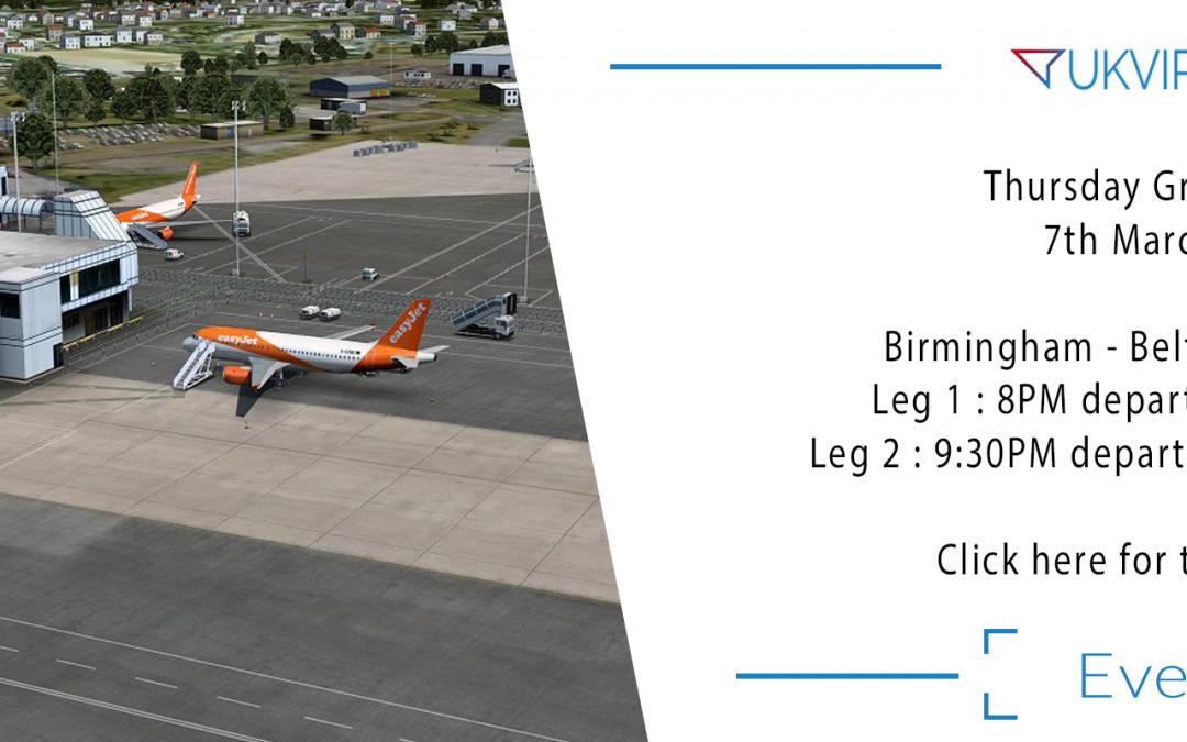 Thursday Group Flight : Birmingham – Belfast ( and back )