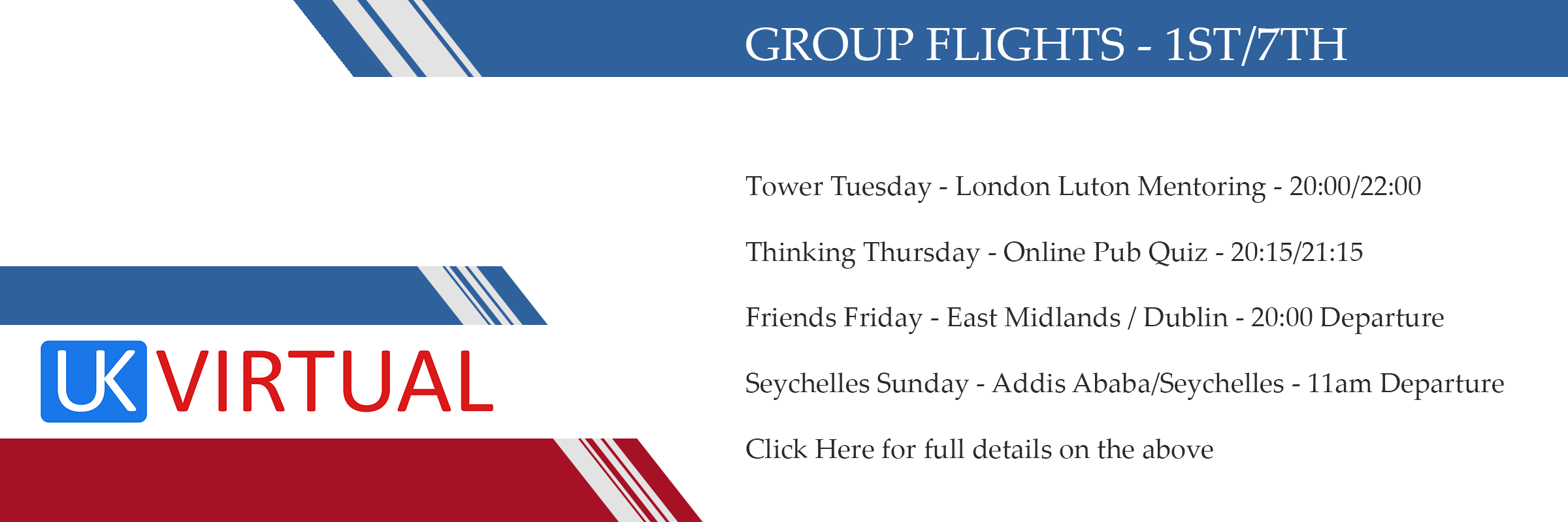 Group flights 1st/7th May 2020