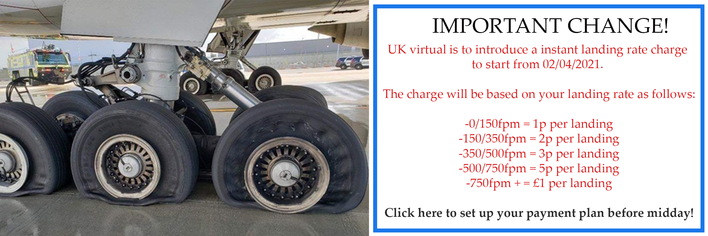 UK virtual to charge for landings