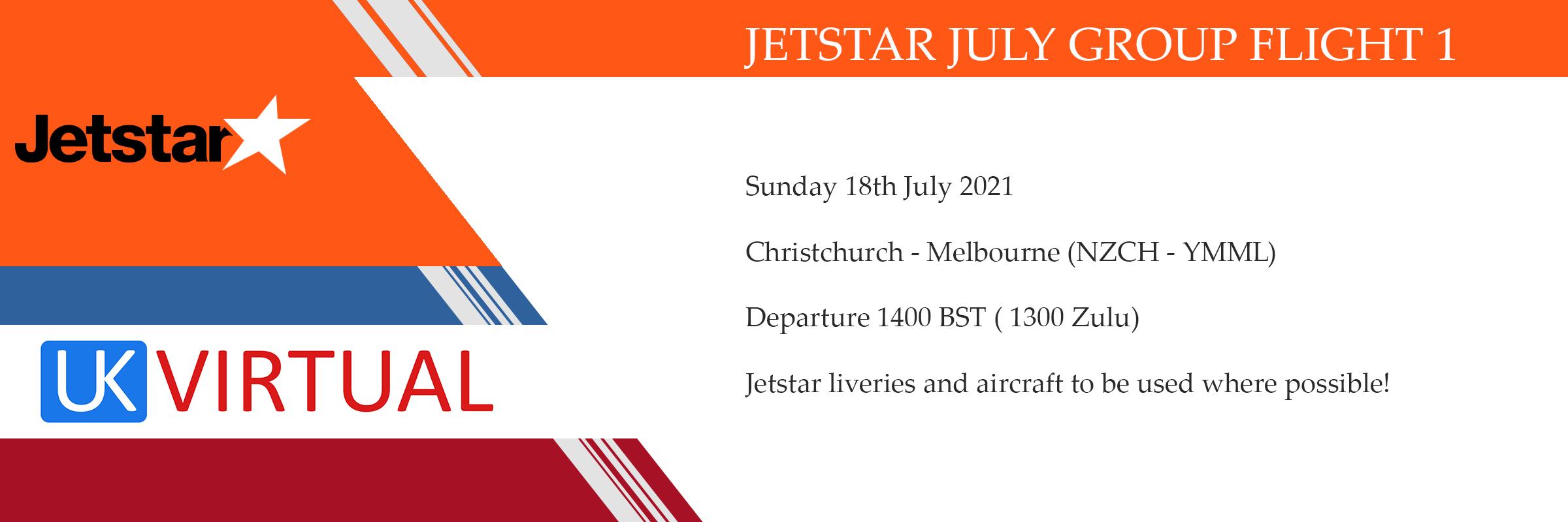 New Group Flight – 18/07/2021 13:00