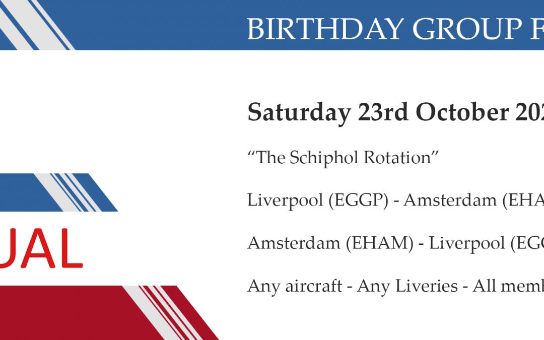 New Group Flight – 23/10/2021 13:00